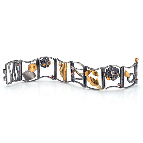 Desert Rose Hinged Bracelet, Handmade Modern Art Jewelry by Lori Gottlieb
