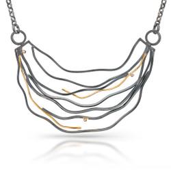 Large Wave Necklace, Handmade Modern Art Jewelry