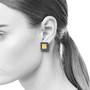 Oxidized Yellowstone Square Earrings on Model, Modern Art Jewelry by Estelle Vernon