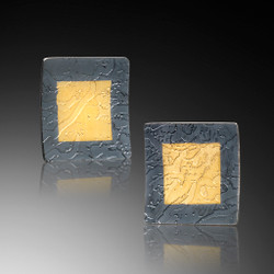 Oxidized Yellowstone Square Earrings, Modern Art Jewelry by Estelle Vernon