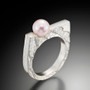 Cuttlefish Ring with Pink Pearl, Modern Art Jewelry by Estelle Vernon