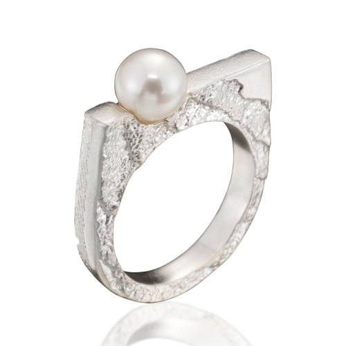 Cuttlefish Ring with White Pearl, Modern Art Jewelry by Estelle Vernon