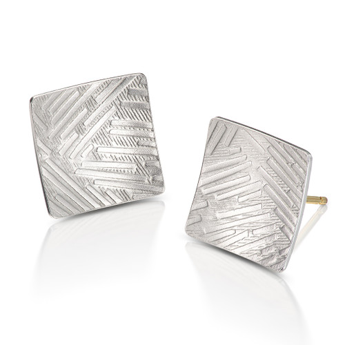 Square Twig Texture Earrings, Modern Art Jewelry by Estelle Vernon