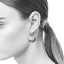 Crinkle Sterling Silver Ginkgo Earrings on Model | Modern Art Jewelry by Estelle Vernon