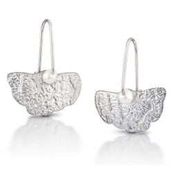 Crinkle Sterling Silver Ginkgo Earrings, Modern Art Jewelry by Estelle Vernon