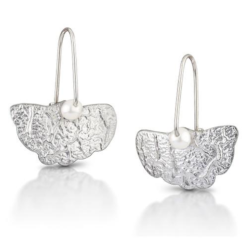Crinkle Sterling Silver Ginkgo Earrings, Modern Art Jewelry by Estelle Vernon