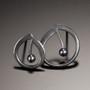 Oxidized Sterling Silver Melody Post Earrings with black pearl, Modern Art Jewelry by Aleksandra Vali