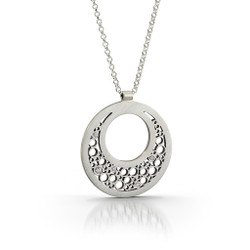 Large Half Moon Pendant Handmade by Contemporary Jewelry Artist Belle Brooke Barer | Sterling Silver and Diamonds