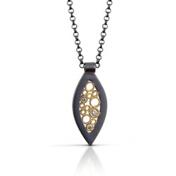 Petite Leaf Pendant handmade by contemporary jewelry designer Belle Brooke Barer | Sterling silver and gold | Diamonds