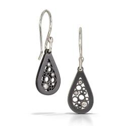 Petite Teardrop Dangle Earrings handmade by contemporary jewelry artist Belle Brooke | Sterling silver and diamonds