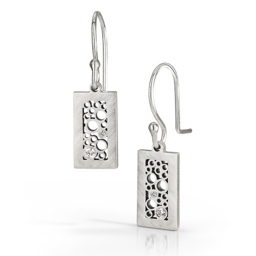 Short Rectangle Dangle Earrings, Handmade Contemporary Jewelry by Belle Brooke Barer