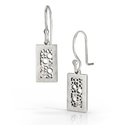 Short Rectangle Dangle Earrings handmade by contemporary jewelry artist Belle Brooke Barer | Sterling silver and gold