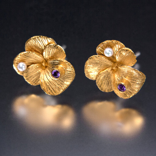 Carol Salisbury's One-of-a-Kind Pansy Earrings | Handmade Designer Jewelry
