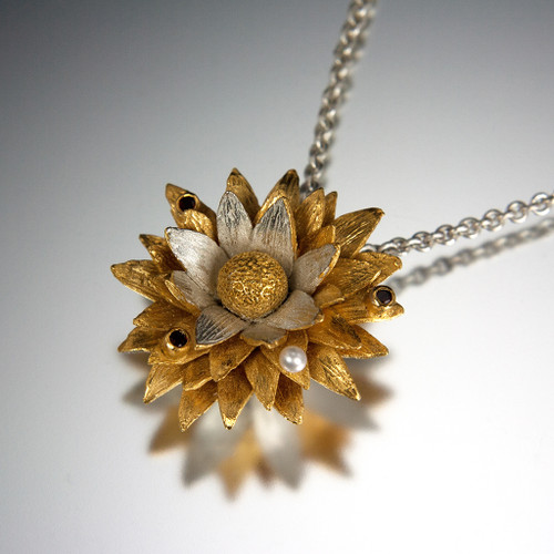Carol Salisbury's One-of-a-Kind Floral Pendant with Garnets and Pearl | Handmade Designer Jewelry