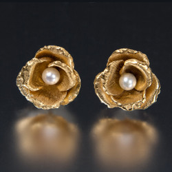 Carol Salisbury's One-of-a-Kind Rosebud and Pearl Earrings | Handmade Designer Jewelry