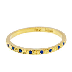 Anit Dodhia's Equinox Royal Blue Sapphires Ring | 18k Yellow Gold and 0.11ct Blue Sapphires | Maya Collection