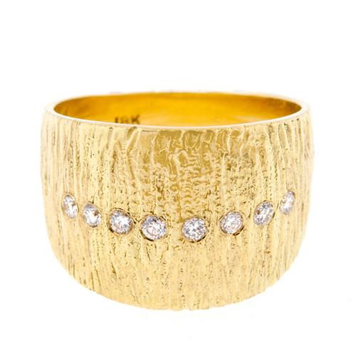 Anit Dodhia's Flare Ring   18 Karat Yellow Gold and 0.16 Carat White Diamonds   Maya Collection