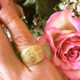 Anit Dodhia's Flare Ring   18 Karat Yellow Gold and 0.16 Carat White Diamonds   Maya Collection   On hand