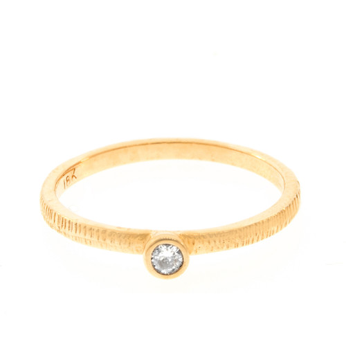 Anit Dodhia's Equinox White Diamond Stacking Ring | 18k Yellow Gold with a 0.06ct White Diamond and signature Textured Finish | Maya Collection