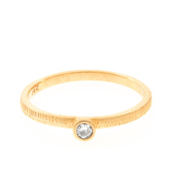 Anit Dodhia's Equinox White Diamond Stacking Ring   18k Yellow Gold with a 0.06ct White Diamond and signature Textured Finish   Maya Collection