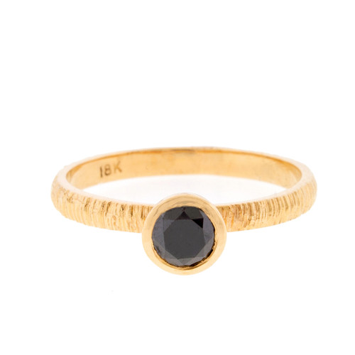 Anit Dodhia's Equinox Jet Black Diamond Stacking Ring | 18k Yellow Gold with a 0.40-0.45ct Black Diamond and Textured Finish | Maya Collection