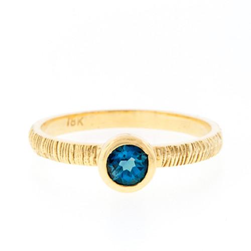 Anit Dodhia's London Blue Topaz Stacking Ring | 18k Yellow Gold and 1.0ct London Blue Topaz Ring | Maya Collection