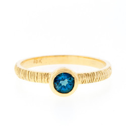 Anit Dodhia's London Blue Topaz Stacking Ring | 18k Yellow Gold and 1.0ct London Blue Topaz Ring | Maya Collection