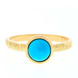Anit Dodhia's Equinox Sleeping Beauty Turquoise Stacking Ring | 18k Yellow Gold and  Turquoise| Maya Collection