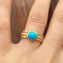 Anit Dodhia's Equinox Sleeping Beauty Turquoise Stacking Ring | 18k Yellow Gold and  Turquoise| Maya Collection on hand