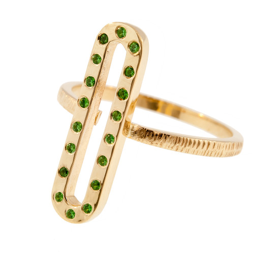 Anit Dodhia's Giocoso Green Tsavorites Stackable Ring | 14k Yellow Gold and Tsavorites | Caramia Collection