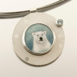 Carol Salisbury's Polar Bear Pendant | Endangered and Vulnerable Species Series | Argentium silver and Aquamarine