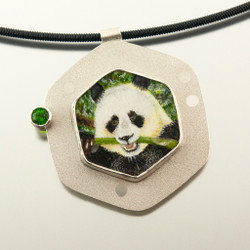 Giant Panda Pendant from Carol Salisbury's Endangered and Vulnerable Species Series | Argentium Silver and Fine Silver | Chrome Diopside Faceted Gemstone