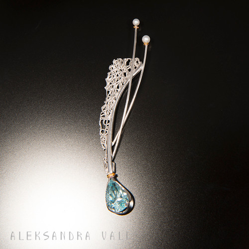 The Intersection Effect | Brooch from Aleksandra Vali | Sterling Silver and Blue Topaz