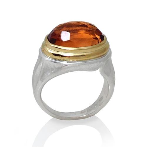 Citrine Gem Rock Ring from K.Mita.