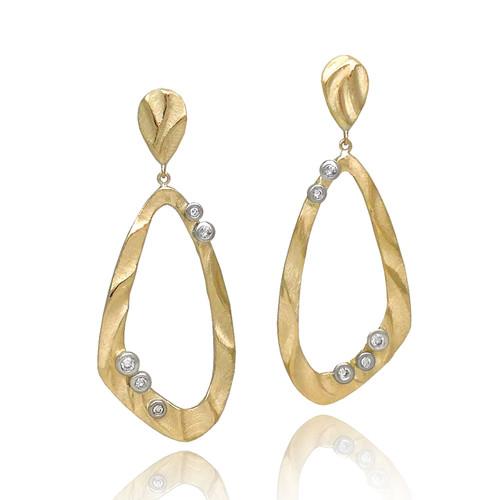 Open Drop Earrings from K.Mita | 14k Yellow Gold | Diamonds set in 14k White Gold