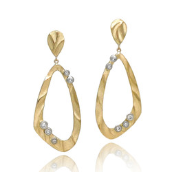 Open Drop Earrings from K.Mita | 14k Yellow Gold | Diamonds set in 14k White Gold