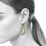 Open Drop Earrings on model from K.Mita | 14k Yellow Gold | Diamonds set in 14k White Gold
