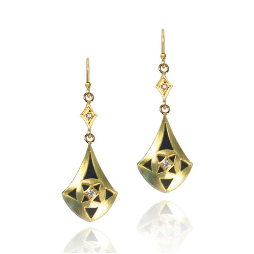 Tear Drop Earring from Keiko Mita's Moire Collection | 18k Yellow  Gold and Oxidized Sterling Silver | Diamonds