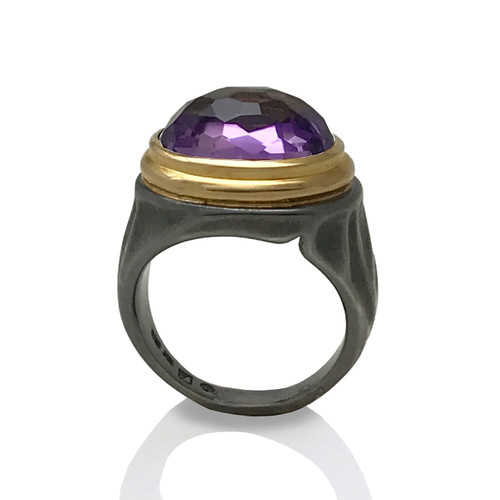 K.Mita's Gem Rock Ring | Amethyst | Oxidized Silver