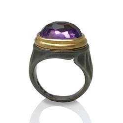 K.Mita's Gem Rock Ring | Amethyst | Oxidized Silver