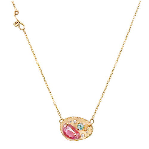 Huan Wang's Dahlia Pendant Necklace | Yellow Gold | Sapphires and Diamonds