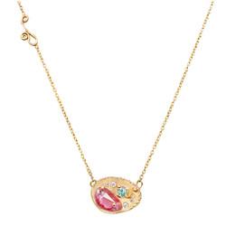 Huan Wang's Dahlia Pendant Necklace | Yellow Gold | Sapphires and Diamonds