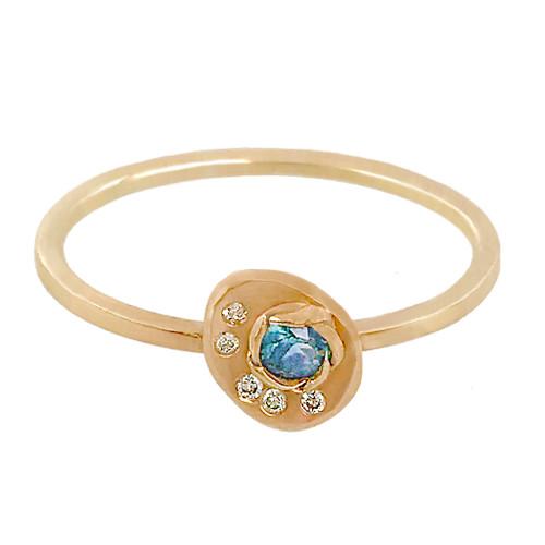 Huan Wang's Camelia Gold Chip Ring | Yellow Gold | Diamonds