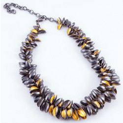 Modern Barnacle Necklace from So Young Park | Oxidized Sterling Silver and 24 Karat Gold Leaf | Fresh Water Pearls