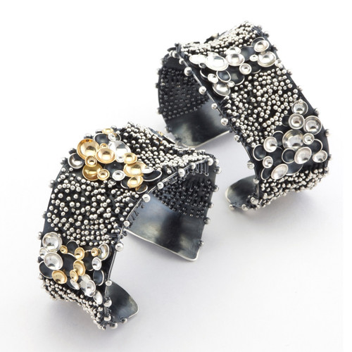 Modern Drop by Drop I Cuff (right image) by jewelry artist So Young Park | Oxidized Sterling Silver