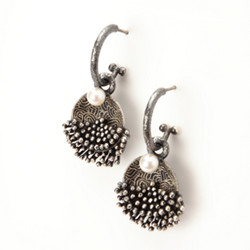 Modern EO102 Earrings from So Young Park | Oxidized Sterling Silver and Fresh Water Pearls