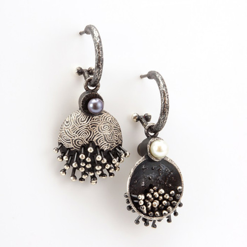 EO119 Earrings from So Young Park | Oxidized Sterling Silver and Fresh Water Pearls