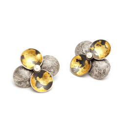 Modern EO138S Earrings from So Young Park   Oxidized Sterling Silver and 24 Karat Gold Leaf   Fresh Water Pearls