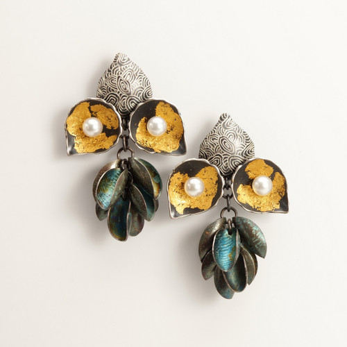 Modern EO177 Earrings from So Young Park   Oxidized Sterling Silver and 24 Karat Gold Leaf   Fresh Water Pearls