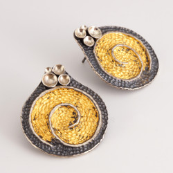 Modern EO199 Earrings from jewelry artist So Young Park   Oxidized Sterling Silver and 24 Karat Gold Leaf